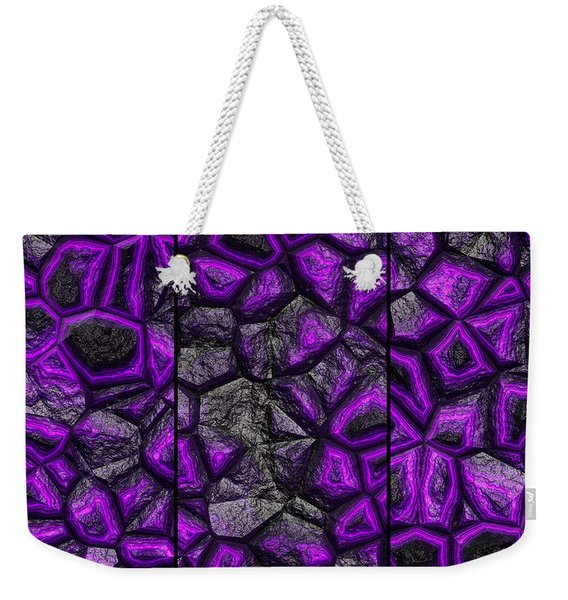 Weekender Tote Bag featuring the digital art Abstract Deep Purple Stone Triptych by Don Northup
