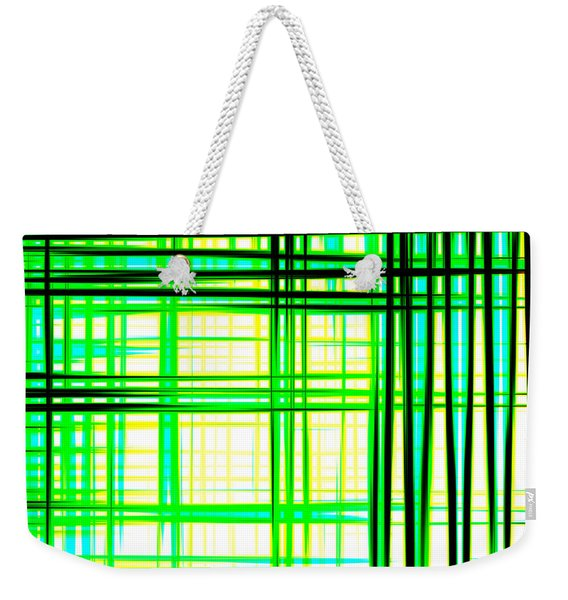 Abstract Design With Lines Squares In Green Color Waves - Pl409 Weekender Tote Bag
