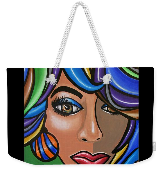 Abstract Woman Artwork Abstract Female Painting Colorful Hair Salon Art - Ai P. Nilson Weekender Tote Bag