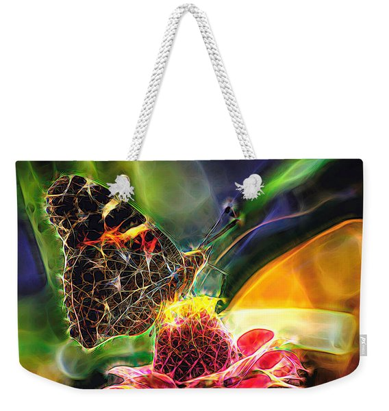 Weekender Tote Bag featuring the photograph Abstract Painted Lady Butterfly by Don Northup