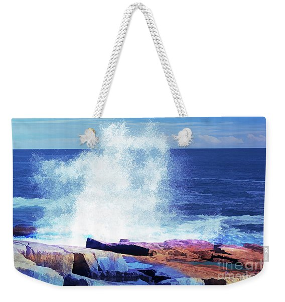 Crashing Waves At Schoodic Point Abstract Weekender Tote Bag