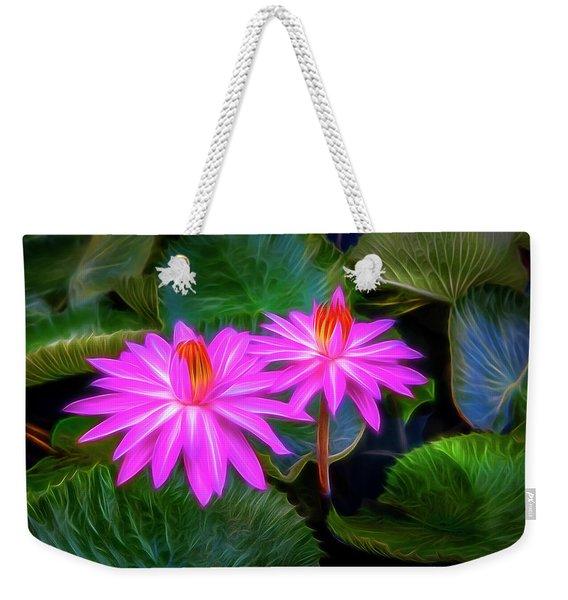 Abstracted Water Lilies Weekender Tote Bag