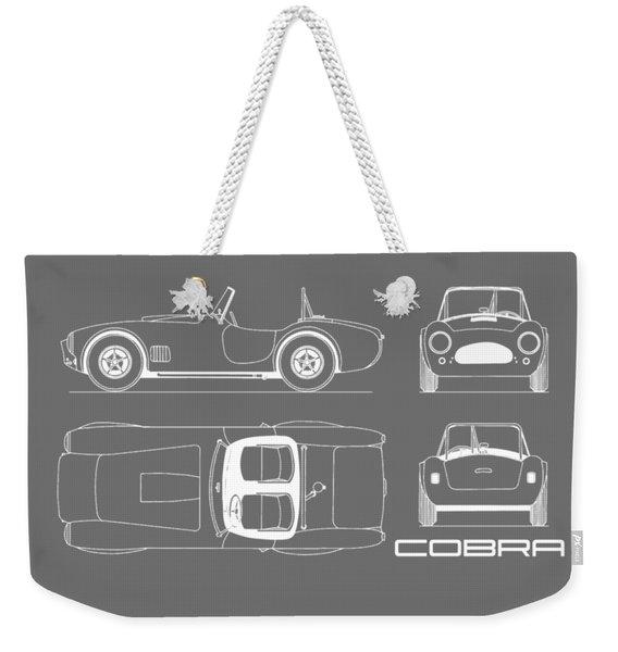 Ac Cobra Blueprint - Black Weekender Tote Bag