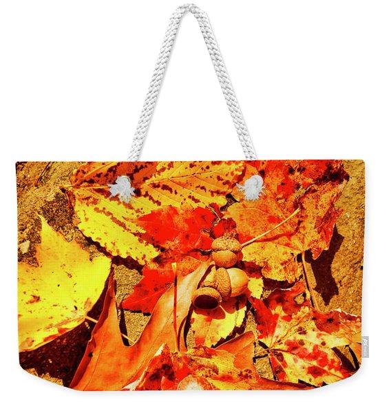 Acorns Fall Maple Oak Leaves Weekender Tote Bag