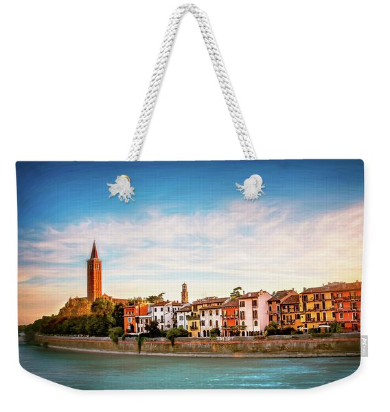 Adige River And Historic Old Town Verona Italy  Weekender Tote Bag