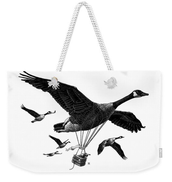 Weekender Tote Bag featuring the drawing Aero Canada - Bw by Clint Hansen