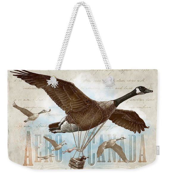 Weekender Tote Bag featuring the drawing Aero Canada by Clint Hansen