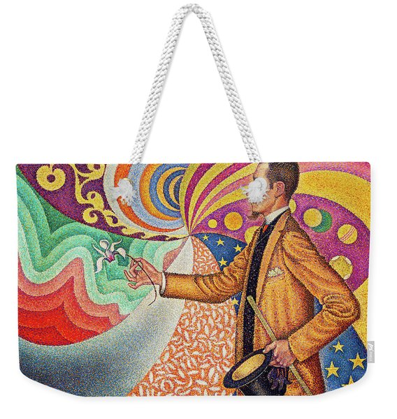 Against The Enamel Of A Background Rhythmic With Beats And Angles, Tones, And Tints Weekender Tote Bag