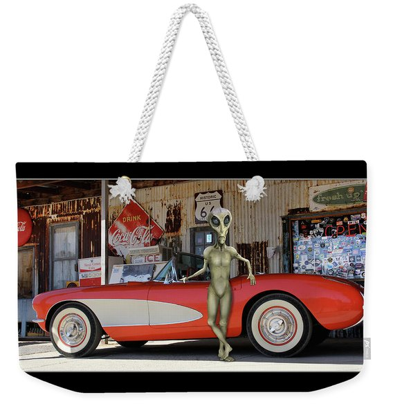 Alien Vacation Classic Vette On Route 66 Weekender Tote Bag