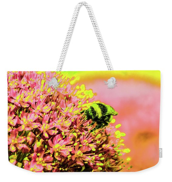 Allium With Bee 1 Weekender Tote Bag
