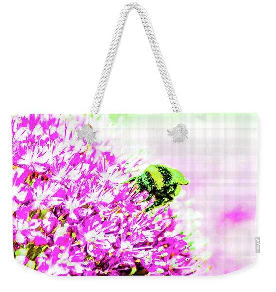 Allium With Bee 3 Weekender Tote Bag
