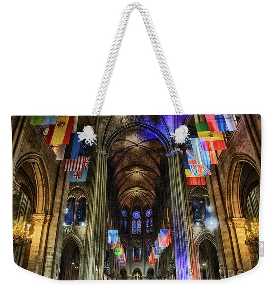 Amazing Interior Cathedrale Notre Dame De Paris France Before Fire Weekender Tote Bag