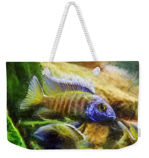 Weekender Tote Bag featuring the digital art Amazing Peacock Cichlid by Don Northup