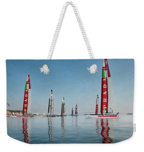 America Cup Boat Reflections Weekender Tote Bag