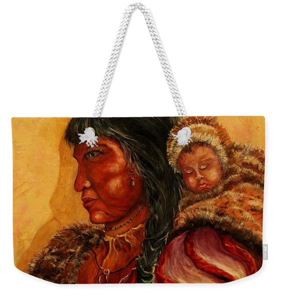 American Indian Mother And Child Weekender Tote Bag