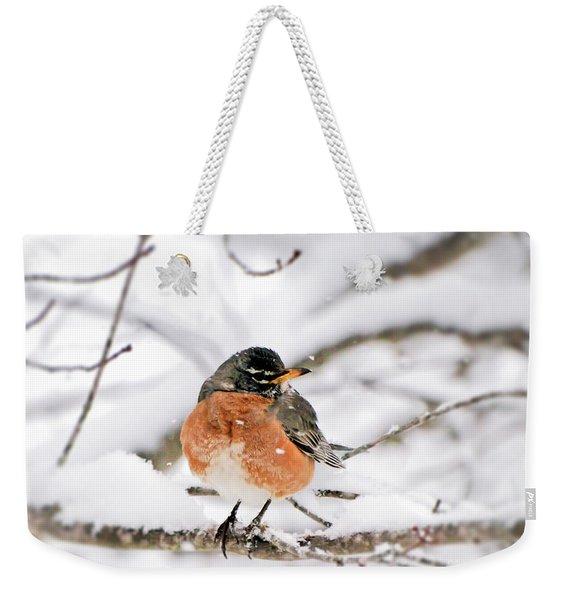 American Robin In The Snow Weekender Tote Bag