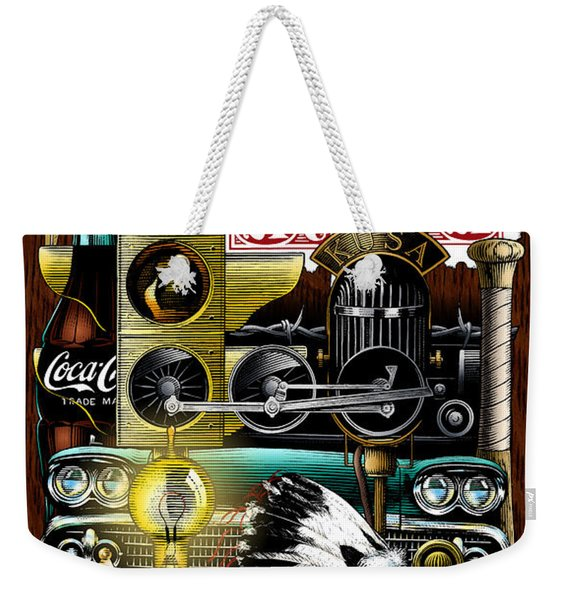 Weekender Tote Bag featuring the drawing Americana by Clint Hansen