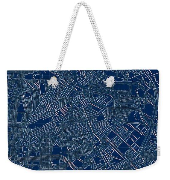 Amsterdam Blueprint City Map Weekender Tote Bag