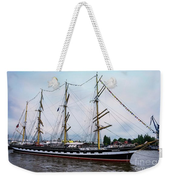 An Exit Sailboat Krusenstern On Parade Weekender Tote Bag