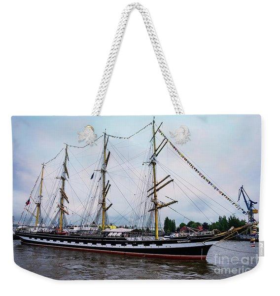 An Exit Sailboat Krusenstern On Parade Weekender Tote Bag