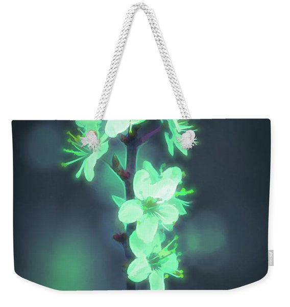 Weekender Tote Bag featuring the photograph Another World - Glowing Flowers by Scott Lyons