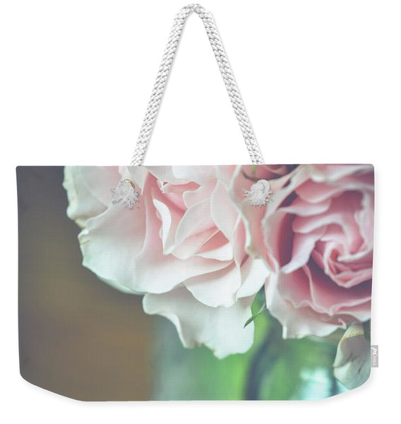 Weekender Tote Bag featuring the photograph Antique Roses by Michelle Wermuth