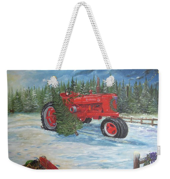 Antique Tractor At The Christmas Tree Farm Weekender Tote Bag