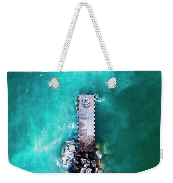 Arcadia Beach Aerial Of Pier Weekender Tote Bag
