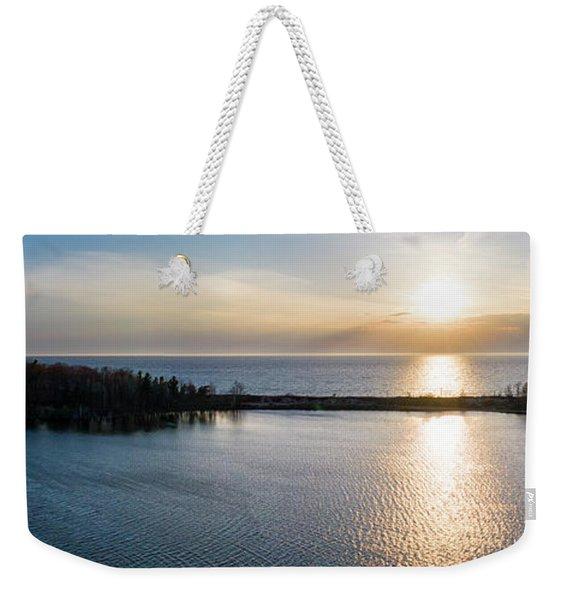 Arcadia Beach Aerial Panorama Weekender Tote Bag