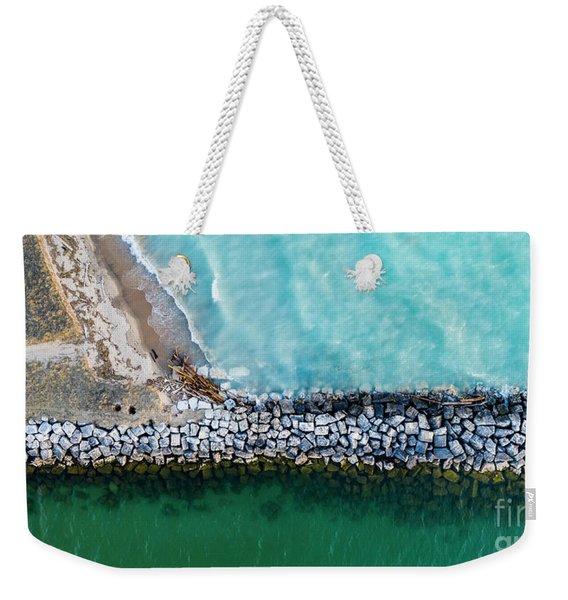 Arcadia Beach Breakwall Aerial Panorama Weekender Tote Bag