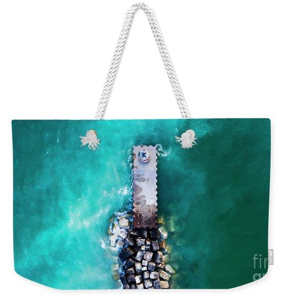 Arcadia Beach Pier Aerial Weekender Tote Bag
