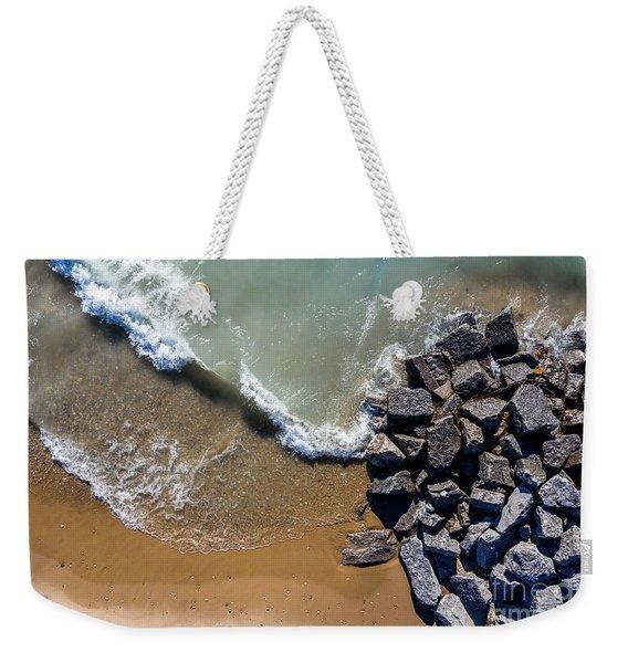Arcadia Beach Waves And Rocks Aerial Weekender Tote Bag