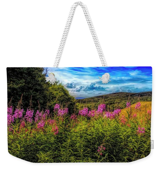 Art Photo Of Vermont Rolling Hills With Pink Flowers In The Fore Weekender Tote Bag