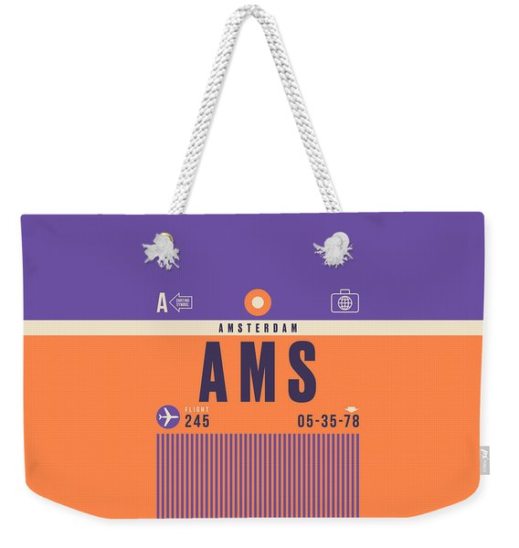 Retro Airline Luggage Tag - Ams Amsterdam Schiphol Weekender Tote Bag