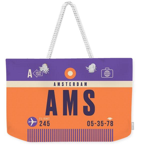 Retro Airline Luggage Tag - Ams Amsterdam Schiphol Weekender Tote Bag