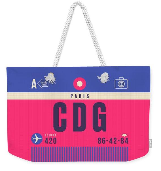 Retro Airline Luggage Tag - Cdg Paris Charles De Gaulle Weekender Tote Bag