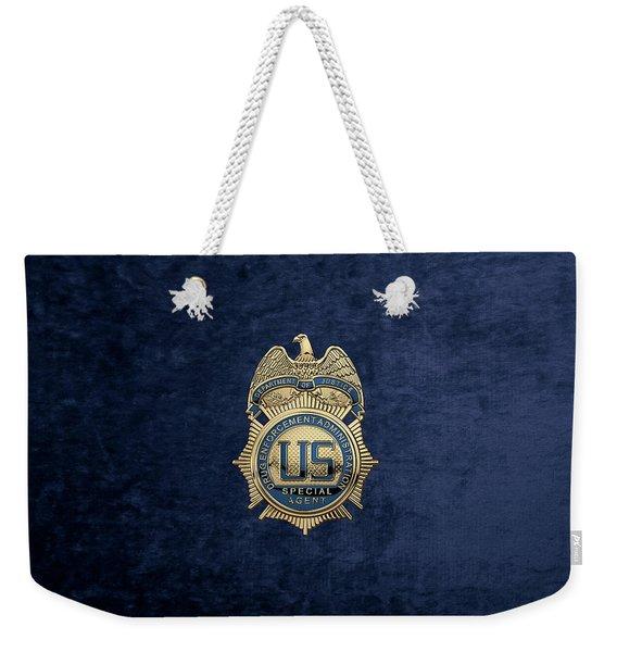 Drug Enforcement Administration -  D E A  Special Agent Badge Over Blue Velvet Weekender Tote Bag
