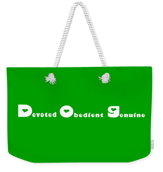 Dog With White Words Weekender Tote Bag