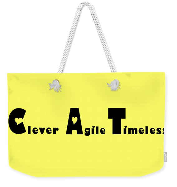 Cat With Black Words Weekender Tote Bag