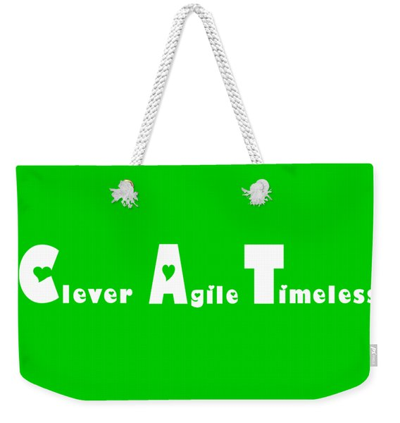 Cat With White Words Weekender Tote Bag