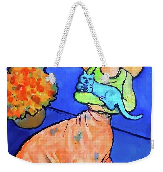Lady With Blue Cat Weekender Tote Bag