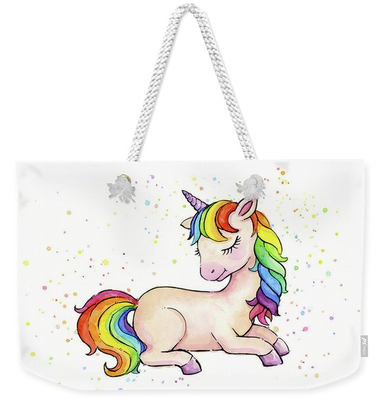 Sleeping Baby Rainbow Unicorn Weekender Tote Bag