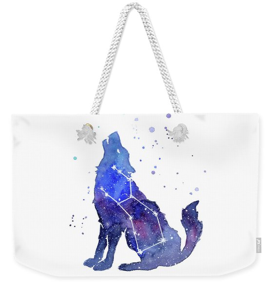 Galaxy Wolf - Lupus Constellation Weekender Tote Bag