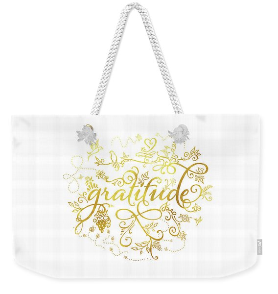 Golden Gratitude Weekender Tote Bag