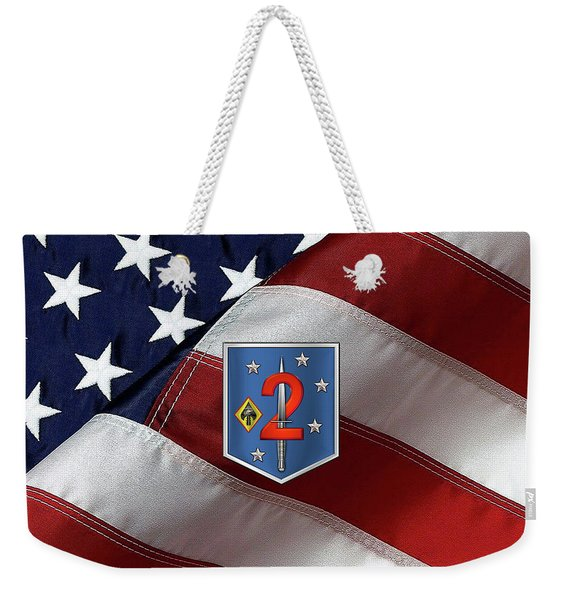 2d Marine Raider Support Battalion  -  2d  M R S B  Patch Over American Flag Weekender Tote Bag