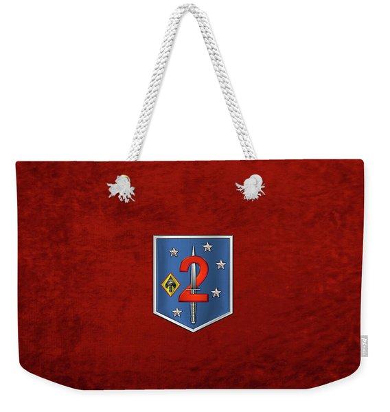 2d Marine Raider Support Battalion  -  2d  M R S B  Patch Over Red Velvet Weekender Tote Bag