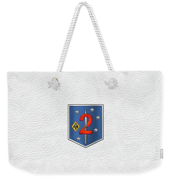 2d Marine Raider Support Battalion  -  2d  M R S B  Patch White Leather Weekender Tote Bag