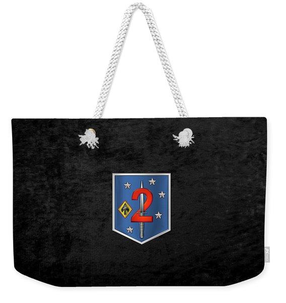 2d Marine Raider Support Battalion  -  2d  M R S B  Patch Over Black Velvet Weekender Tote Bag