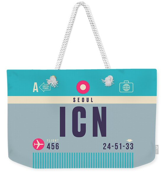 Retro Airline Luggage Tag - Icn Seoul Incheon Weekender Tote Bag