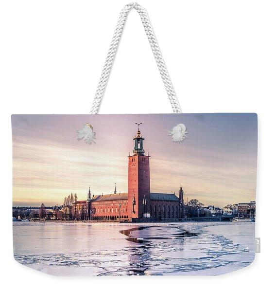 Stockholm City Hall In Winter Weekender Tote Bag